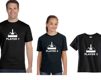 Son Dad Daughter shirts Player 1 2 3 Joystick video game remote matching shirts Custom T Shirts, Siblings tees new baby shower gift idea