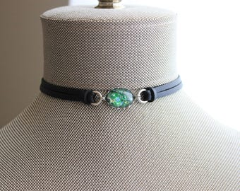 Green Opal Leather Choker and/or Bracelet. Choose from 9 leather colors