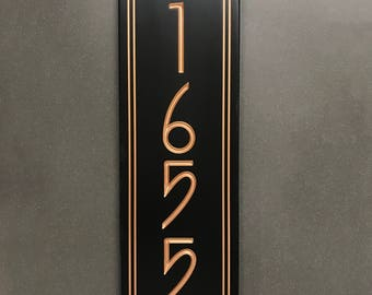 Vertical Stickley Style House Number