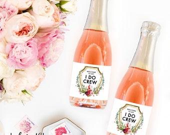 """Set of """"I Do Crew"""" Mini Champagne Labels: Bridesmaid Proposal Box, Will You Be My Bridesmaid Idea, Bride Squad, Bride Tribe, Mini Wine Label"""