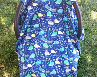 Whale Car Seat Canopy - Car Seat Cover - Breastfeeding Cover - Baby Shower Gift Idea - New Mom Gift - Nautical Baby