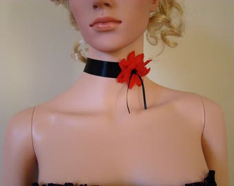 Black Choker with a red flower