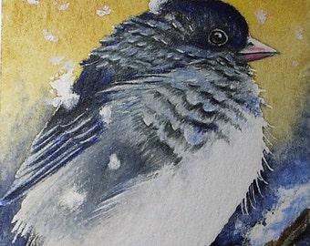 Winter Junco Bird Art by Melody Lea Lamb ACEO Print