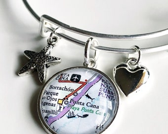 Punta Cana Map Charm Bracelet - Punta Cana Bracelet - Punta Cana Charm Bracelet - Travel Bracelet - Dominican Republic Bracelet