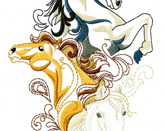 3 HORSE SKETCH - Machine Embroidery Design