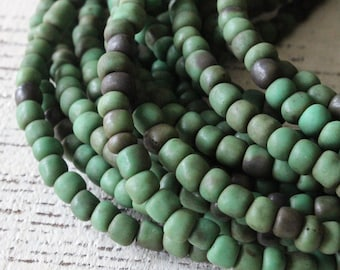 Indonesian Rustic Tribal Matte Seed Beads - Jewelry Making Supply (~5mm) Dark Forest Green - Choose Amount