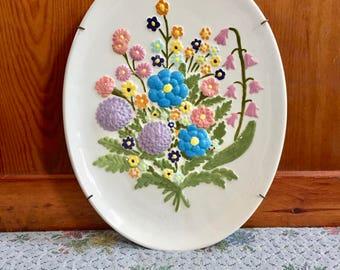 Flower Decor Vintage Wall Art Flower Art Gift for Gardner Gift Floral Art Floral Decor Flowers Ceramic Wall Art Mothers Day Gift for Mom