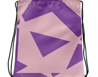 Violet and Pink Drawstring bag