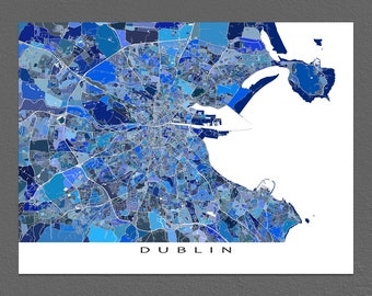 Dublin Map Print, Dublin Ireland City Poster, Map Art