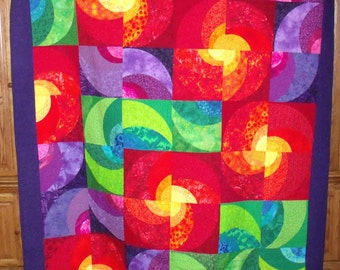 Radiant Suns, new brightly colored abstract quilt, twin size, made in USA, second place award winner