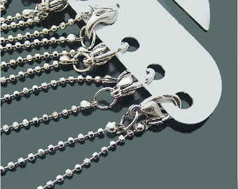12 White Gold 1.1mm Beads chain Necklaces - Ball Chains Wholesale AG9770
