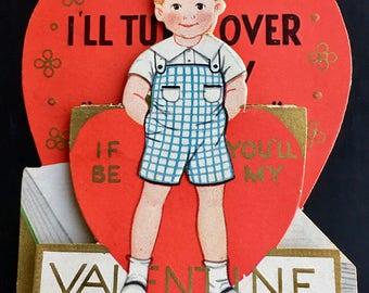 Vintage Valentine Post Card Red head Boy