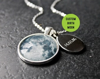Custom birth moon necklace personalised moon phase necklace personalised birth moon necklace with engraved date custom glass dome moon phase necklace birthday solar system aloadofball Images