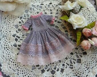 Blythe gray dress clothes Blythe dress  polka-dot dress, Lolita dress, Pullip dress, pullip clothes,