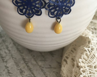 Vintage Blue Filigree Earrings