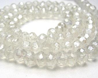 Crystal Quartz Gemstone. Mystic, Faceted Rondelles, 4mm. Semi Precious Gemstone.  Your Choice Strand ... (fcry)