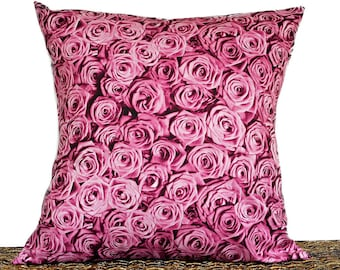 Pink Roses Pillow Cover Cushion Valentines Day Floral Photograph Red Decorative Valentines Decor 18x18