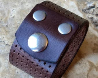 """Brown Cuff Bracelet - Upcycled from a Leather Belt - Textured Cutouts - Nickel Snap - Size Small/Medium 6 1/4"""" - 6 3/4"""" Wrist"""