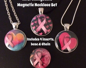 Pink Ribbon Interchangeable Magnetic Necklace Set