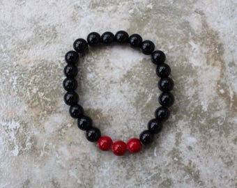 Handmade Black and Red Marble Bracelet