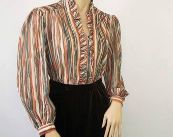 1970's Blouse Brown Striped Long Sleeve Ruffle Women's Shirt Office Artsy Size Medium