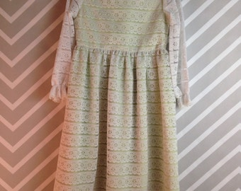vintage 1960s lace and eyelet white girls dress with green underslip by l'enfant