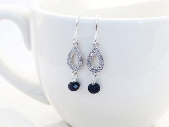 Silver, White Topaz & Sapphire Drop Earrings - Sterling Silver