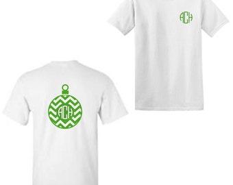 Custom Monogrammed, Personalized Chevron Christmas Ornament Adult Shirt, T-shirt, Christmas Party Shirt, Holiday Shirt