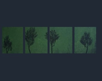 Original Four Piece Landscape Canvas Acrylic Painting Green and Trees Modern Surreal Zen Made To Order