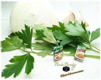 Italian Miniature Food, Handmade, Aromi Knorr, Soffritto, aglio e prezzemolo in miniature dolls house in 1:12 th scale