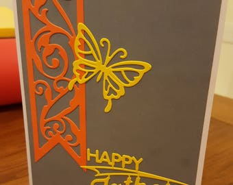 Handmade Fathers Father's Day Card Yellow Butterfly