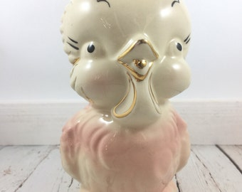 Shawnee Chickadee Pitcher,Gold Chickadee,Pink Chickadee,milk pitcher,kitsch,ceramic pitcher,creamer,1950s,Shawnee Pottery,Shawnee Chickadee