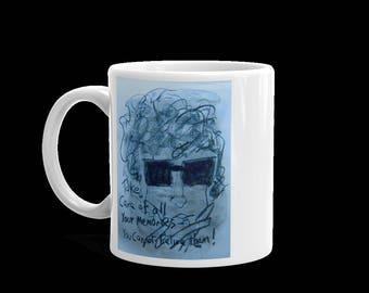 Bob Dylan inspired coffee mug. Image on both sides of mug.