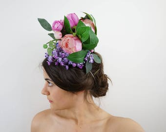 Handmade White and Multicoloured Floral Arrangement Hat Headpiece Spring Racing Fascinator