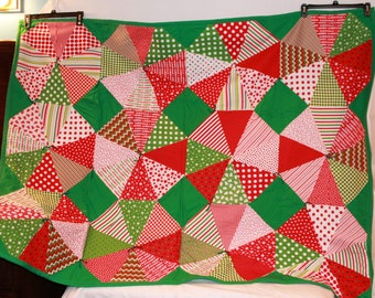 Handmade Christmas Lap Quilt or Wall Hanging