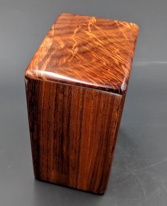 """Large Curly Hawaiian Koa Wooden Memorial Cremation Urn... 7""""wide x 5""""deep x 9""""high Wood Adult Cremation Urn Handmade in Hawaii LK031318-B"""