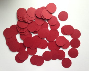 Dark Red Circle Confetti (1 inch), Red Wedding Confetti, Dark Red Paper Circles, Red Party Decor