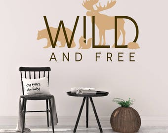 Wild and free wall art, Woodland animals nursery decor, Forest animals wall decals, Woodland creatures nursery wall art, Nursery decal DB439