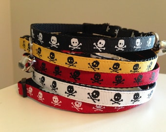 Boy Colors Skull Cat Collar Red, White, Black or Gold