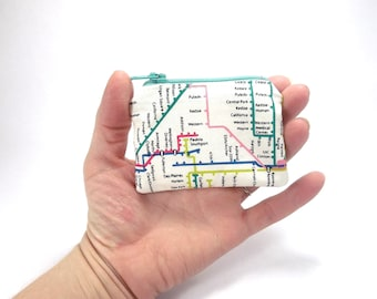 Metro map wallet, coin purse, transit authority zipper pouch, travel bag, underground map purse, metro token purse, subway system change