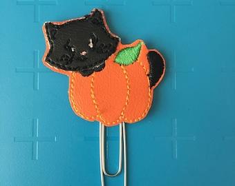 Cat Pumpkin Peeker Planner Clip