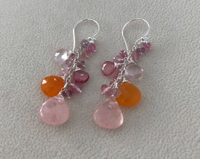 Semiprecious Gemstone Dangle Earrings in Sterling Silver with Morganite, Mystic Pink Topaz, Orange Carnelian, Rose Quartz, Tourmaline