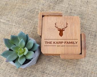 Personalized Coasters, Custom Coasters, Engraved, Last Name, Antlers, Deer Head, Rustic, Gift, Housewarming, Closing, Wedding Present,Shower