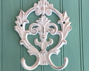 Wall Hook- Decorative Wall Hook- Fleur de Lis - Organization - Home Decor White - Rustic -Farm House- Shabby Chic - Key Hook