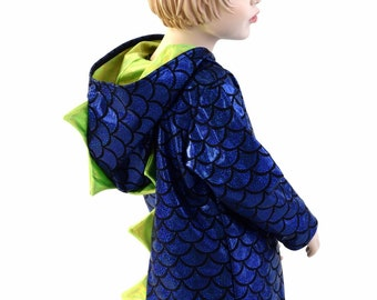Childrens Blue Dragon Scale Long Sleeve Hoodie with Neon Green Holographic Spikes  & Hood LIner Kids Sizes  2T 3T 4T and 5-12   153939