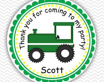 Tractor Green  - Personalized Stickers, Party Favor Tags, Thank You Tags, Gift Tags, Address labels, Birthday, Baby Shower
