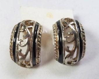 25% OFF SALE Silver Tone Black Enamel Vintage Pierced Cut Out Earrings