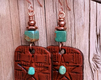 Hand Tooled Leather STAR Earrings  - Turquoise Star Earrings - Western Jewelry - Basketweave Earrings - Cowgirl Jewelry