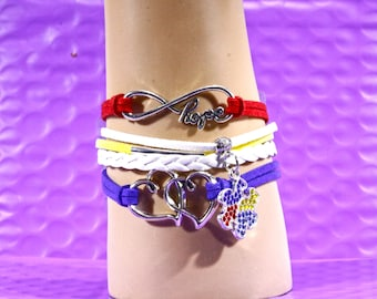 Autism Awareness Infinity Bracelet Puzzle Piece Dangle Charm Multi Color Braided Leather Straps Causes Fashion Jewelry Lobster Clasp