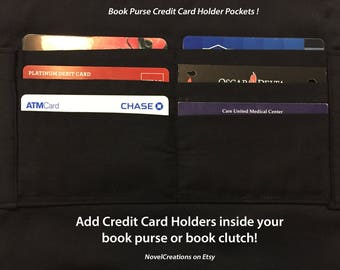 Book Purse Credit Card Holders - Book Clutch Credit Card Holder Pockets - NovelCreations Book Purse - RFID Credit Card Blocking Material